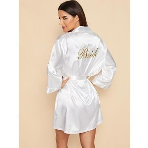 White Satin Bride Robe Embroidered Back Letters